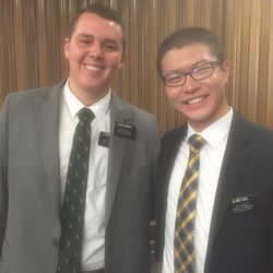 ChenWei Guo smiles for a photo with his mission companion, Spencer Murphy, in the Provo/Orem Utah mission.
