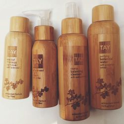 """Later that day I get a special delivery. Sarah Tay comes and drops off some goodies from her new skincare line,<a href=""""http://tayskincare.com/en/"""">Tay</a>. The packaging is so gorgeous! I daydream about throwing everything else on my bathroom shelf away"""