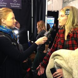 """""""Model Marique Schimmel backstage at the BCBGMAXAZRIA show being interviewed by Fashion TV."""""""