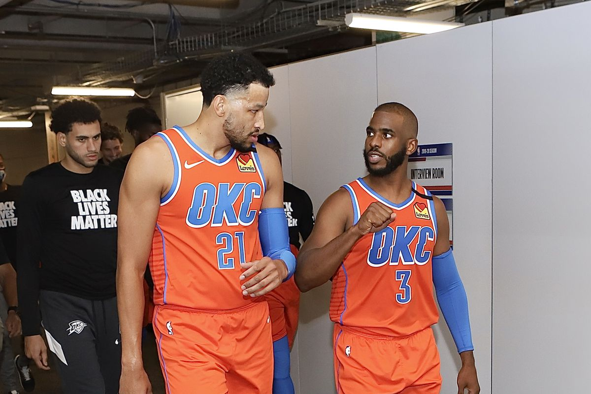 Andre Roberson and Chris Paul of the Oklahoma City Thunder during halftime against the Utah Jazz as part of the NBA Restart 2020 on August 1, 2020 at The Arena at ESPN Wide World of Sports Complex in Orlando, Florida.