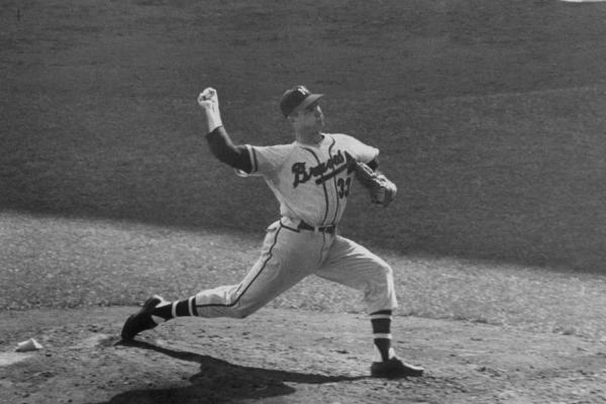 """Lew Burdette, seen here pitching in the 1957 World Series, is 2010's inductee into the Miller Park Walk of Fame. (Photo via <a href=""""http://www.gstatic.com/hostedimg/779ee7ba778bbe2a_landing"""">www.gstatic.com</a>)"""