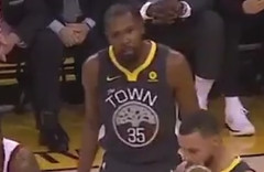 Screenshot of Kevin Durant looking annoyed
