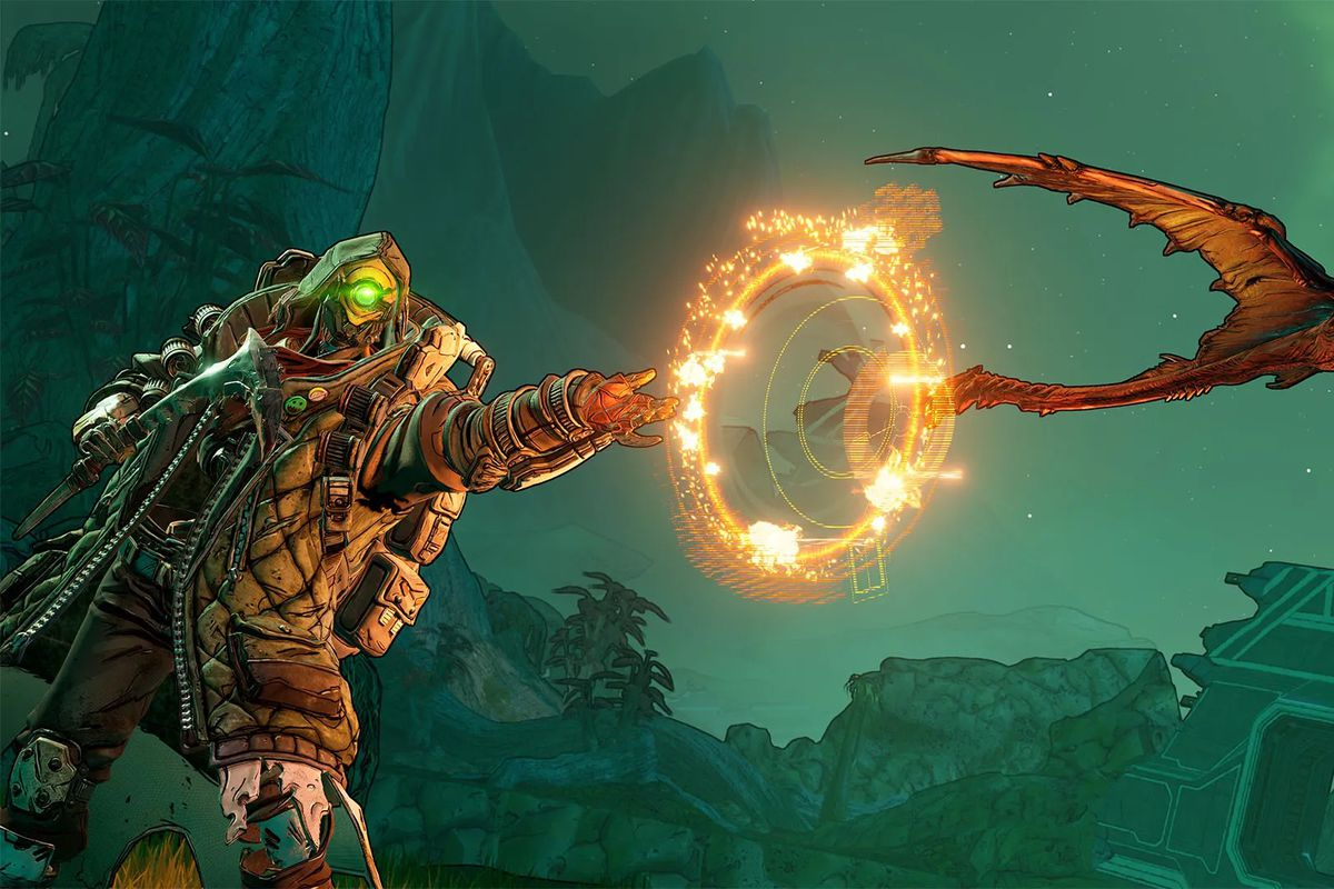 A character from Borderlands 3 shoots a winged creature from its hand