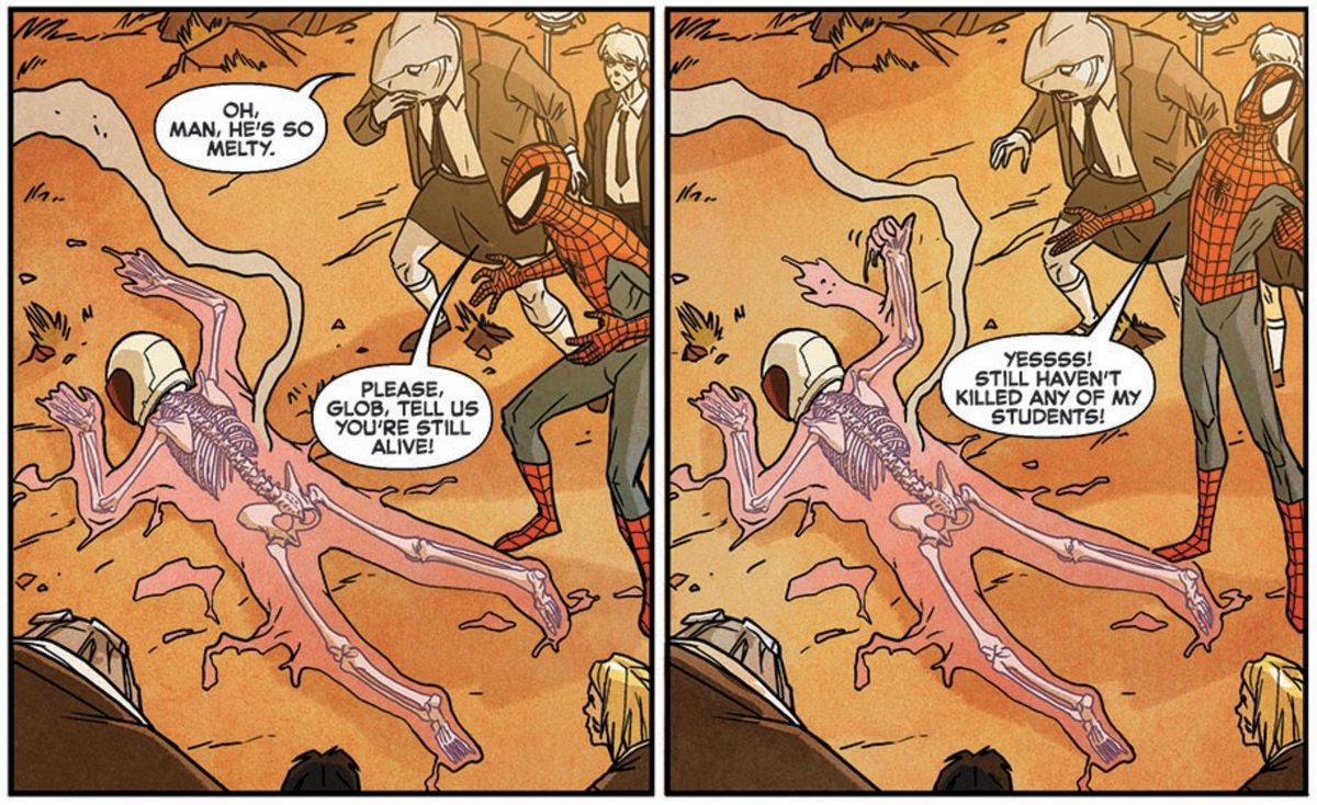"""Glob Herman, a boy who is a skeleton inside of a body of pink goo, lies on the ground. """"Please, Glob,"""" cries Spider-Man, """"Tell us you're still alive."""" Glob gives a thumbs up from his supine position. """"YESSSS!"""" shouts Spider-Man, """"Still haven't killed any of my students!"""" in Spider-Man and the X-Men #5, Marvel Comics (2015)."""