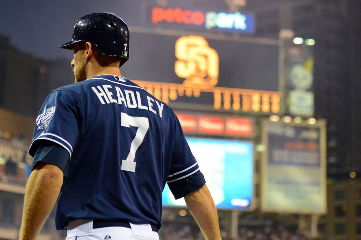 July 7, 2012; San Diego, CA, USA; San Diego Padres third baseman Chase Headley (7) prior to his turn at bat during the sixth inning against the Cincinnati Reds at Petco Park.  Mandatory Credit: Christopher Hanewinckel-US PRESSWIRE
