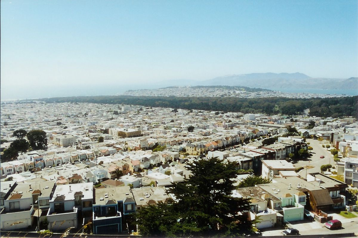 The Inner Sunset photographed from the air, facing Golden Gate Park.