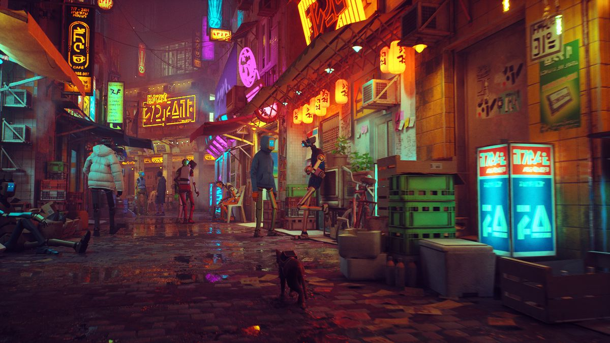 A full-size version of the cat roaming the neon street.