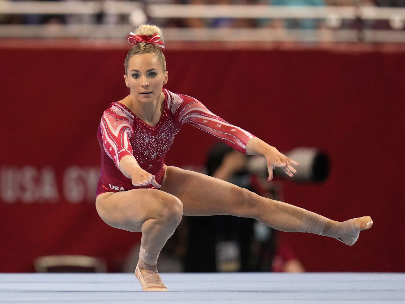 MyKayla Skinner competes on floor exercise during the women's U.S. Olympic Gymnastics Trials.