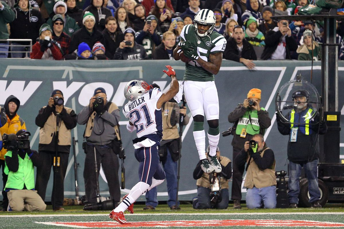 Brandon Marshall makes a leaping catch over Malcom Butler in their November 27th matchup.