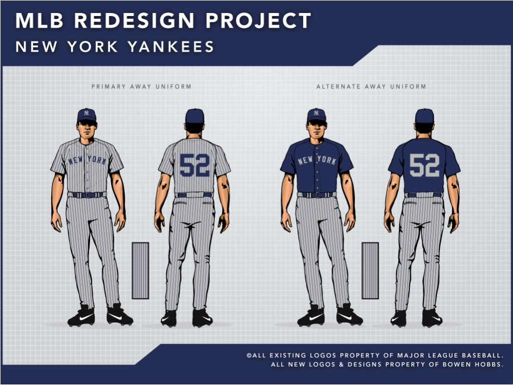 109047de7a9 The away uniform is changed drastically by placing blue pinstripes on top  of a gray uniform. For the alternate