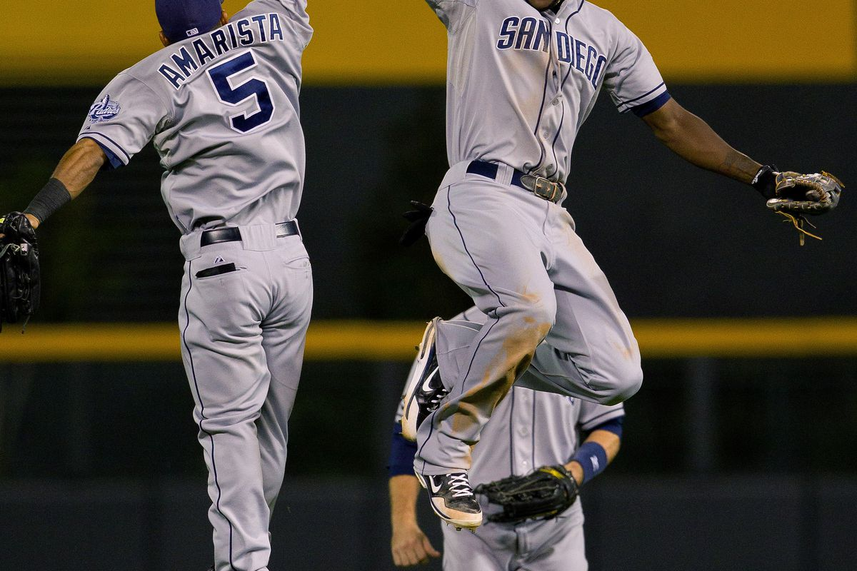 DENVER, CO - AUGUST 31:  Cameron Maybin #24 and Alexi Amarista #5  celebrate a 5-4 win against the Colorado Rockies at Coors Field on August 31, 2012.  (Photo by Justin Edmonds/Getty Images)