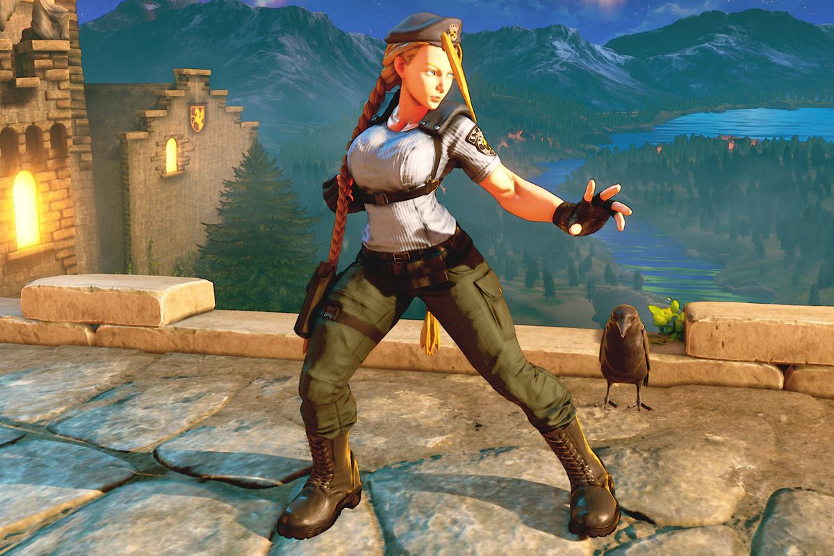 Cammy wearing Jill Valentine's outfit from the original Resident Evil in a screenshot from Street Fighter 5.