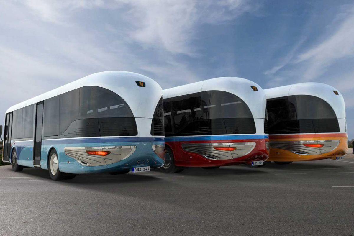 Rendering of three art deco buses