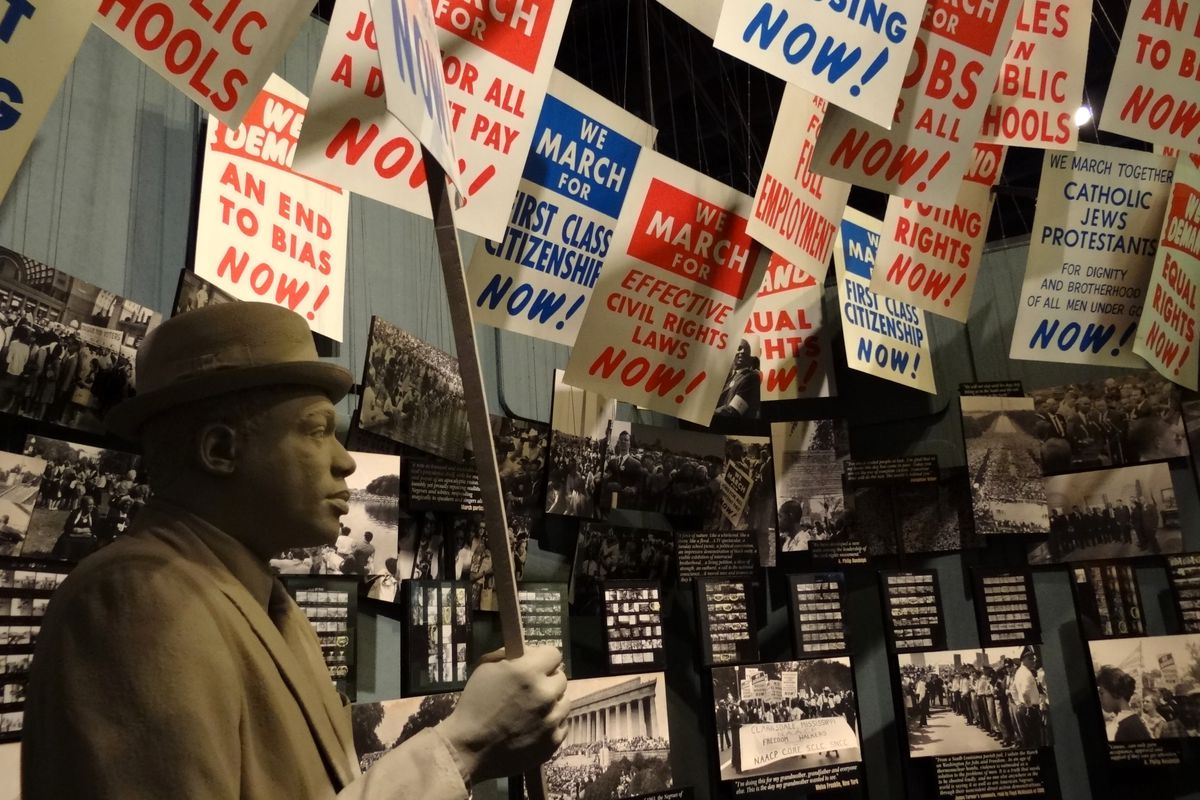 The civil rights movement, depicted in displays (above) at the National Civil Rights Museum in Memphis, is among Tennessee-specific topics that would be reorganized in the state's proposed new social studies standards.