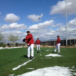 Check out @DHern_30 getting loose with a pile of snow next to him.