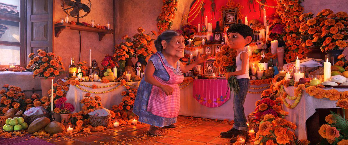 Miguel Rivera and his grandmother Abuelita in Pixar's Coco.