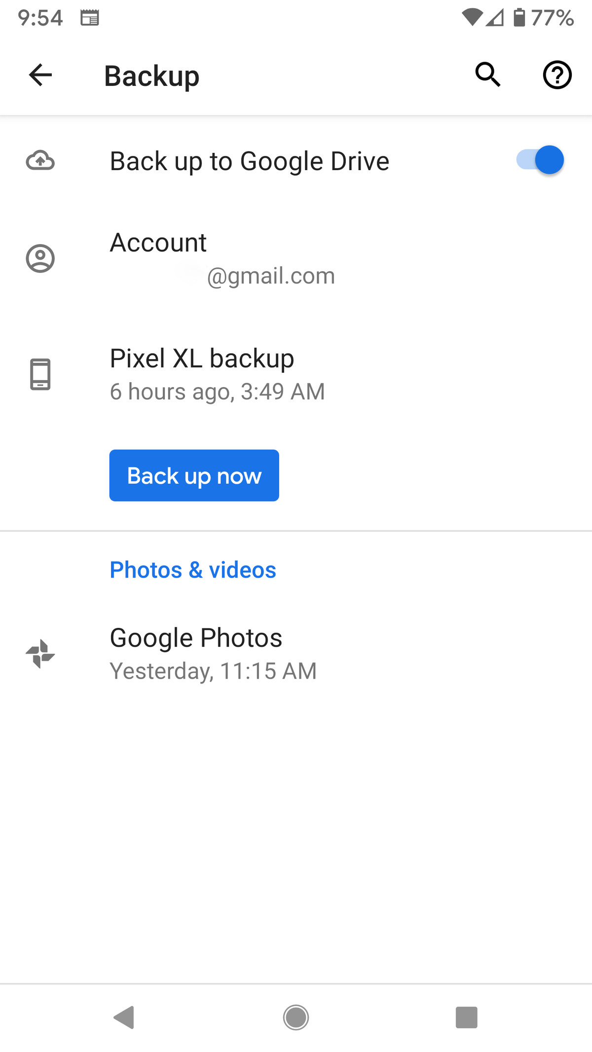 You can back up your app data, call history, and other info to your Google Drive.