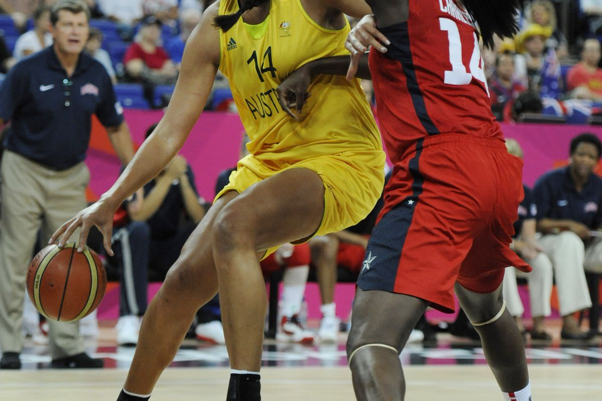 Aug 9, 2012; London, United Kingdom; USA center Tina Charles (14) defends against Australia center Elizabeth Cambage (14) during the London 2012 Olympic Games at North Greenwich Arena. Mandatory Credit: Richard Mackson-USA TODAY Sports