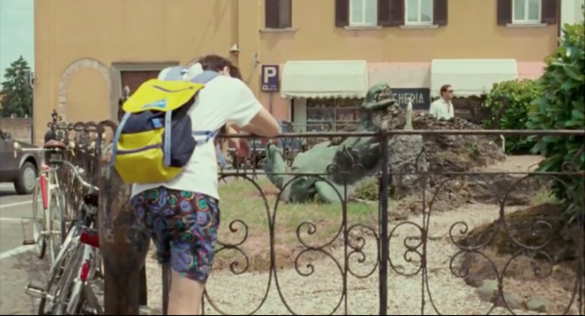 Timothée Chalamet leans on the fence surrounding a memorial in 'Call Me by Your Name'