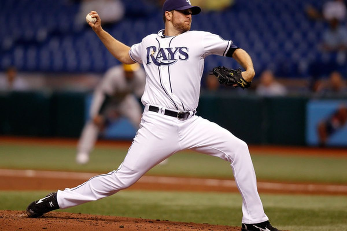 ST. PETERSBURG - APRIL 25:  Pitcher Wade Davis #40 of the Tampa Bay Rays pitches against the Oakland Athletics during the game at Tropicana Field on April 25, 2010 in St. Petersburg, Florida.  (Photo by J. Meric/Getty Images)