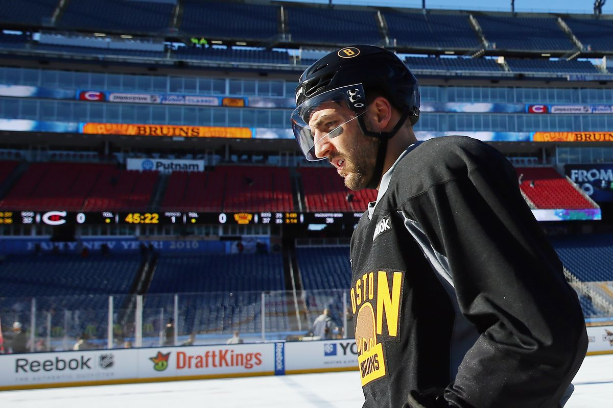 Patrice Bergeron warming up for the Winter Classic