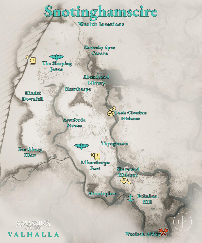 Snotinghamscire Wealth locations map