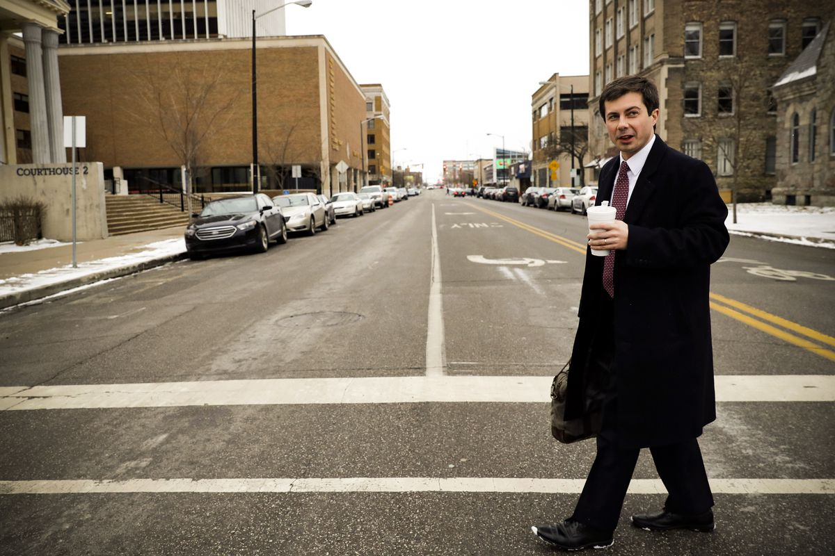 Pete Buttigieg walks in downtown South Bend, Ind., on January 10, 2019.