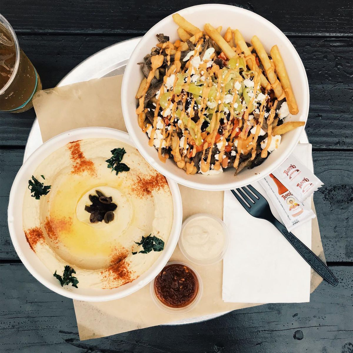 Hummus and fries from Tahini