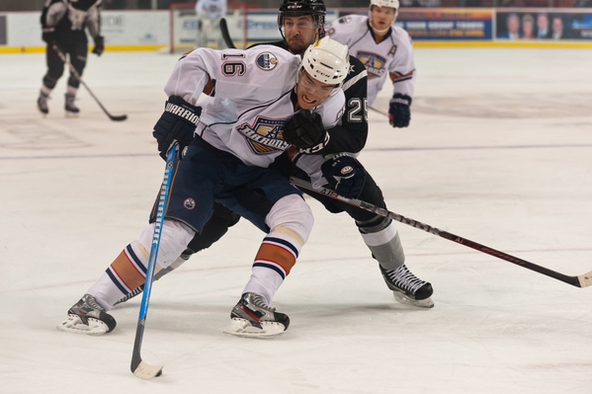 """Paajarvi, beating everyone to the puck in the minors, gets another chance to prove he's worth it. Photo courtesy of <a href=""""http://www.okchockeyphotos.com"""" target=""""new"""">Rob Ferguson</a>. All rights reserved."""