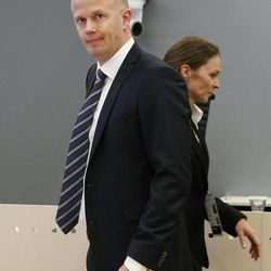 Public prosecutor Svein Holden stands in the courtroom in Oslo, Norway, Monday, April 16, 2012 prior to the opening of the  terrorism and murder case against Anders Behring Breivik. The trial against Breivik, an anti-Muslim fanatic who confessed to killing 77 people in Norway, starts Monday amid worries that he will use the proceedings to showcase his radical views.