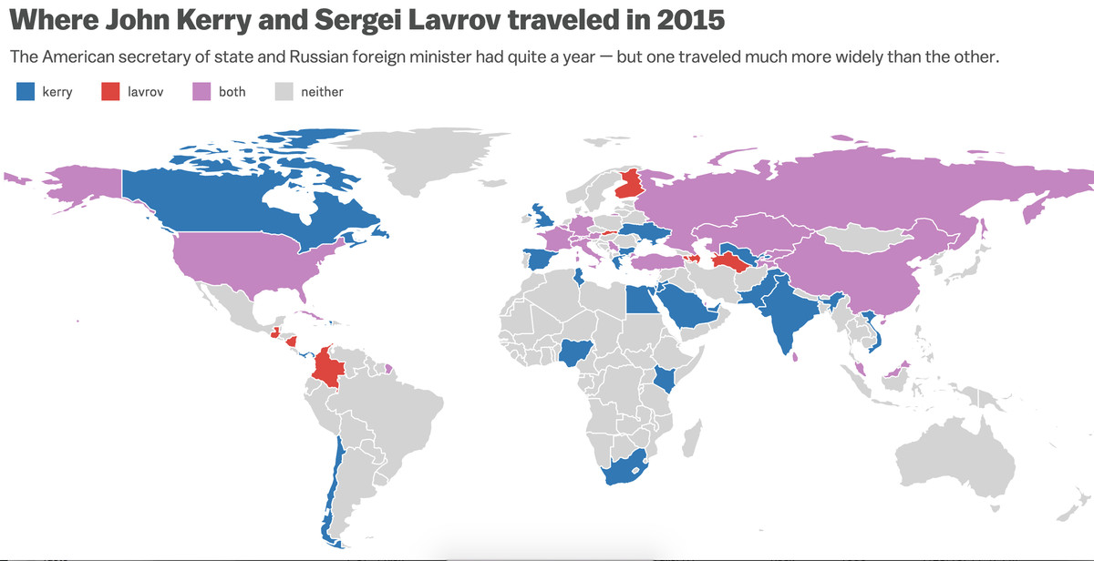 A Revealing Map Of Where America And Russia S Top Diplomats Traveled