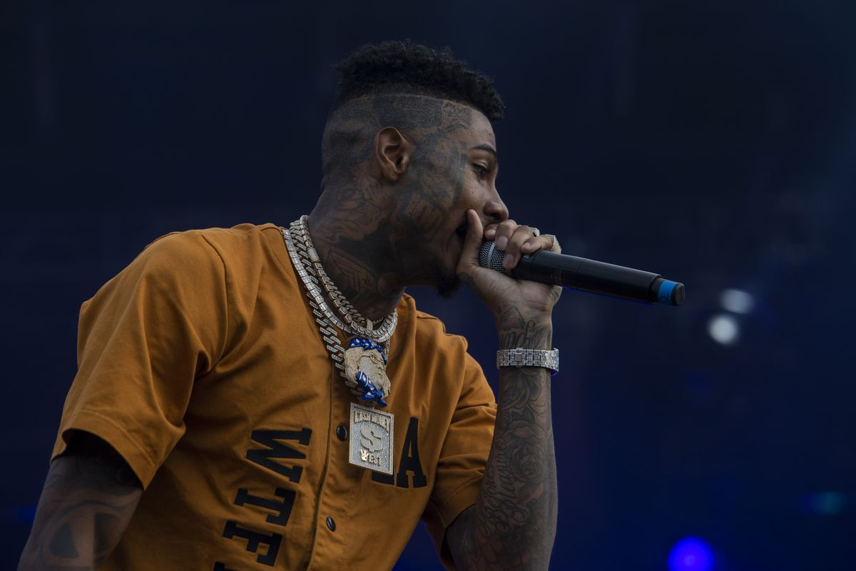 Blueface performs Saturday afternoon on day two of the Summer Smash Festival in Douglass Park.