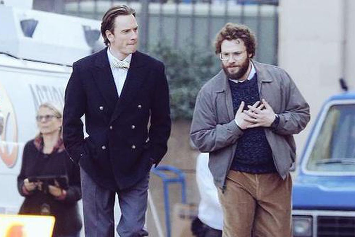 6d15e24fbde First shots emerge of Michael Fassbender and Seth Rogen as Apple's Jobs and  Woz