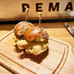 """Fried oyster sliders from The Dutch, by <a href=""""http://www.flickr.com/photos/nicknamemiket/6313526503/"""">nicknamemiket</a>."""