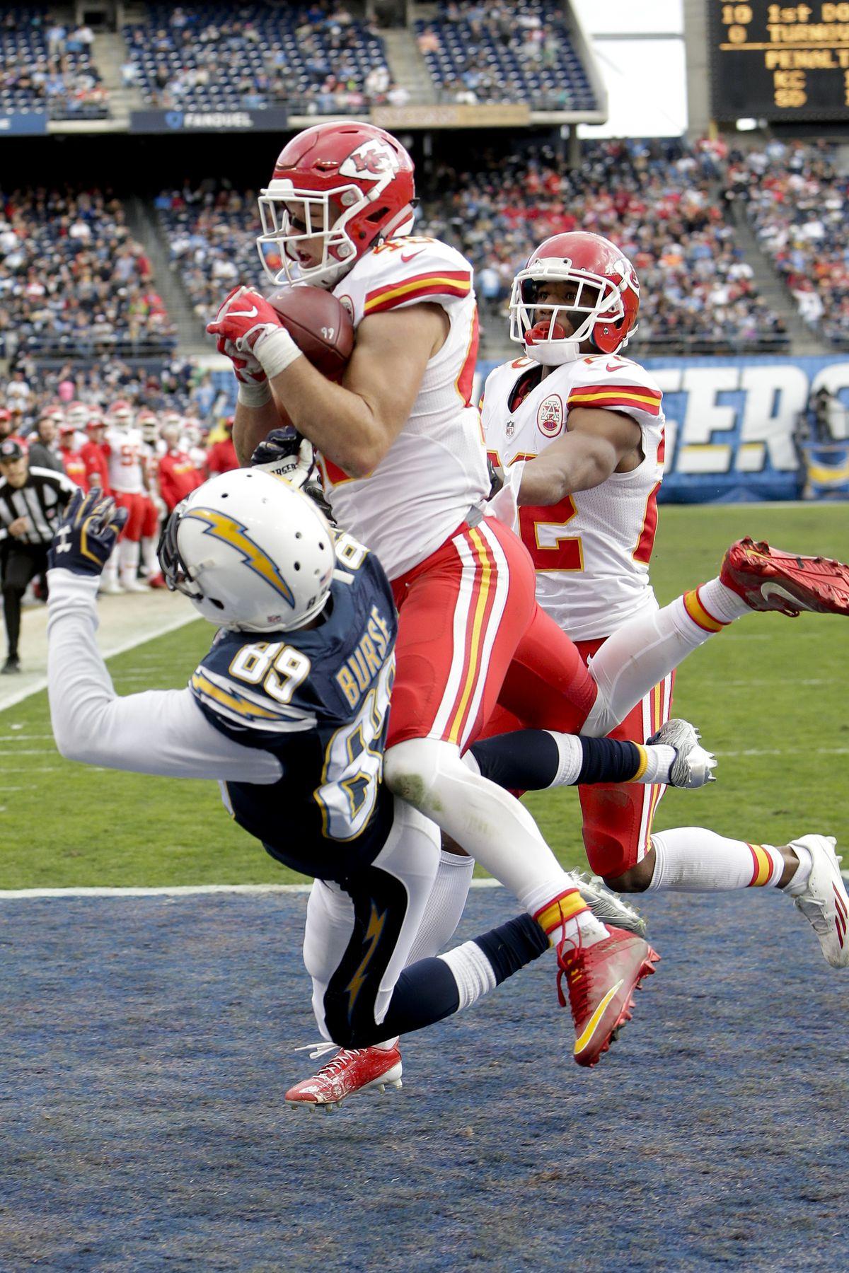 Kansas City and former BYU safety Daniel Sorensen intercepts a pass in an NFL game in 2017.
