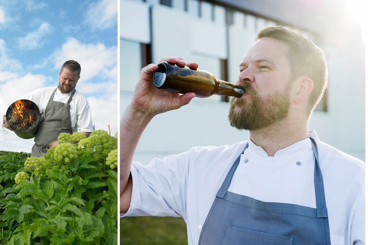 [Gunnar Gíslason in the field and later, with a beer.]