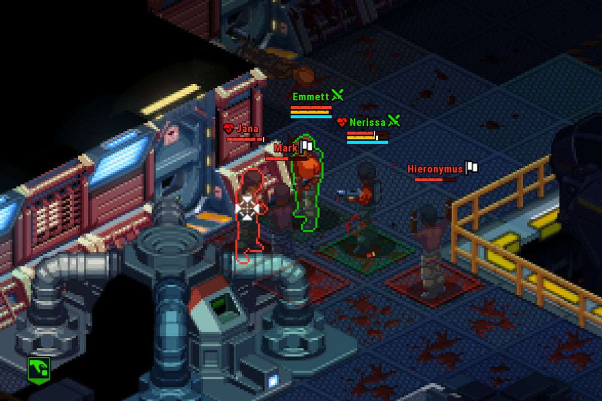 Two red-shirted characters hold weapons up against two other AI characters. One has a white flag over their head signalling surrender.