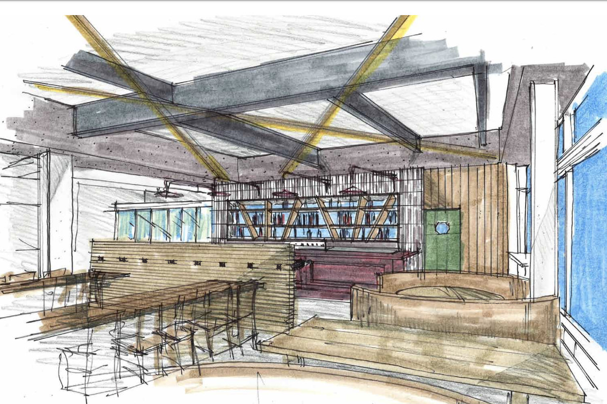 A sketched rendering of one of China Live's proposed bars, with booths and a vaulted ceiling.
