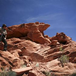 """On Friday, park supervisor Jim Hammons investigates the site where Natural Arch collapsed. Rangers say it appears Natural Arch was claimed by forces that will eventually destroy about 300 others in the park """""""" gravity and erosion."""