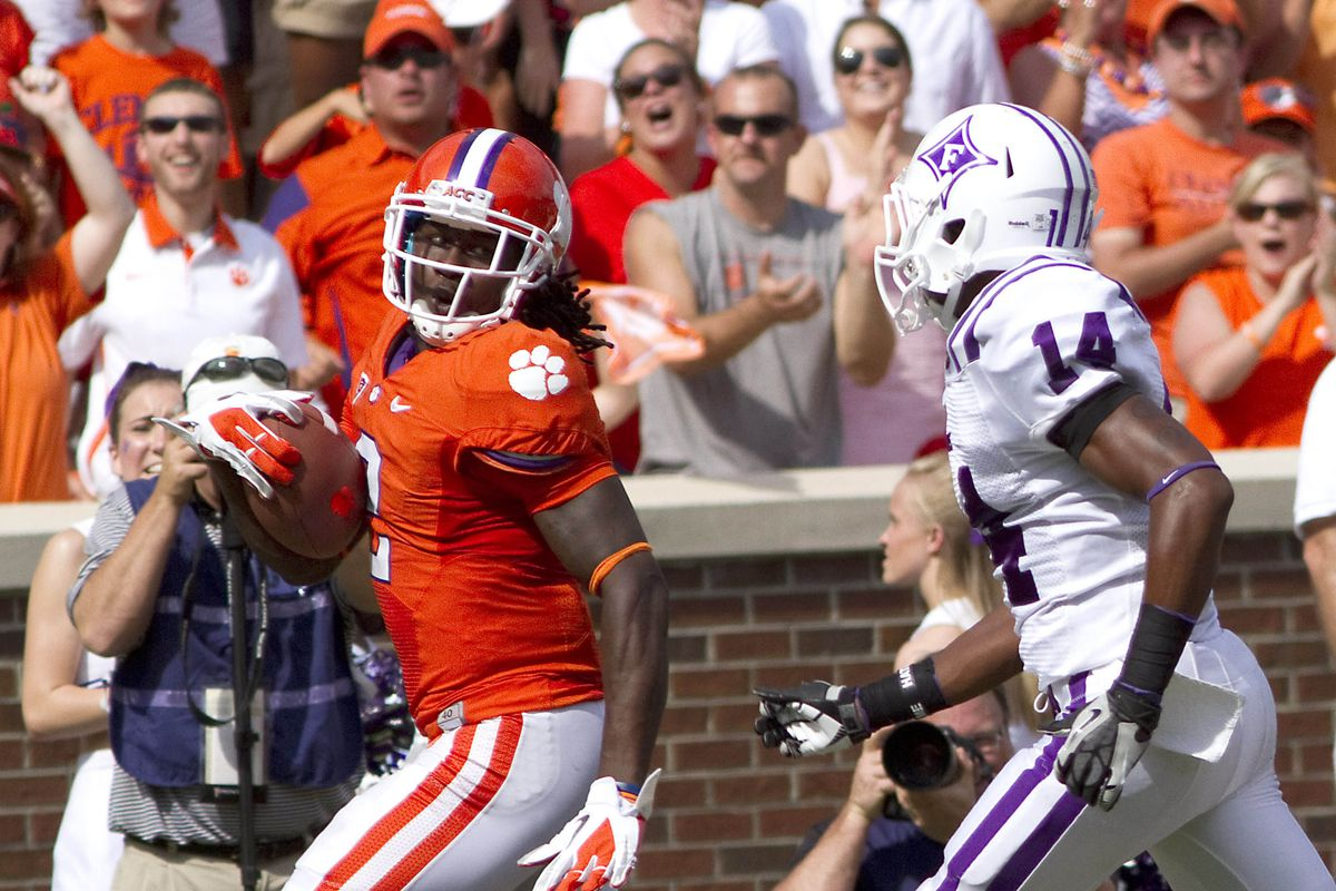 Sep 15, 2012; Clemson, SC, USA; Clemson Tigers wide receiver Sammy Watkins (2) carries the ball for a touchdown during the second quarter of the game against the Furman Paladins at Memorial Stadium. Mandatory Credit: Joshua S. Kelly-US PRESSWIRE