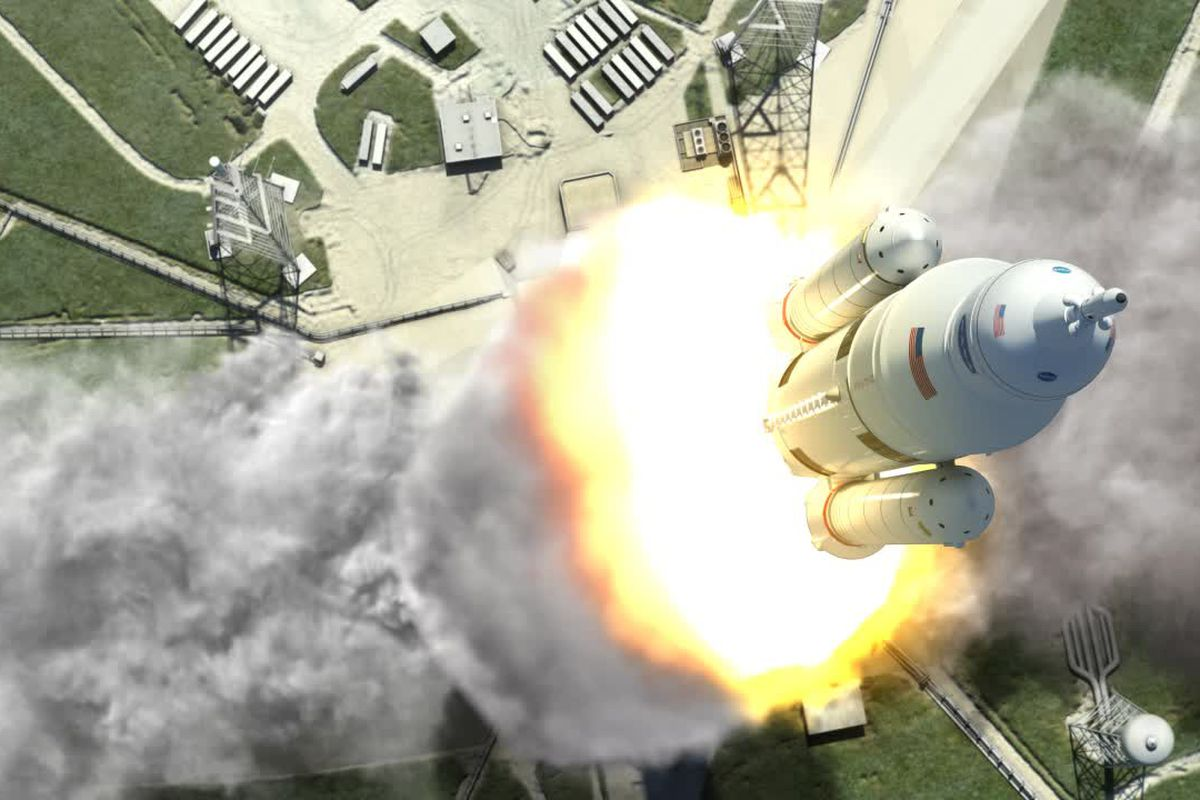 A rendering of NASA's Space Launch System, which will be tested in 2018 — and the agency hopes to eventually use for human Mars exploration.