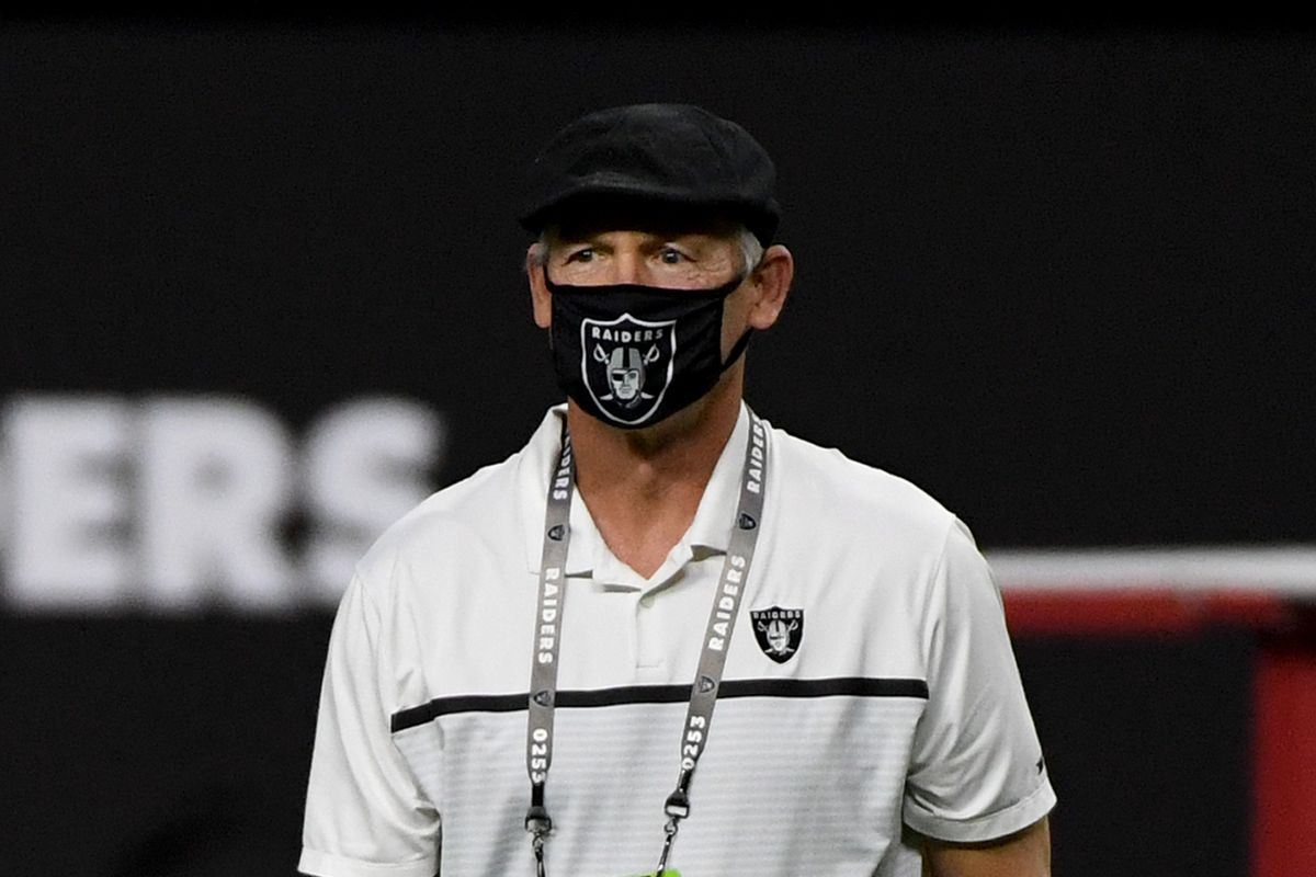 General manager Mike Mayock of the Las Vegas Raiders walks on the field before his team's game against the Kansas City Chiefs at Allegiant Stadium on November 22, 2020 in Las Vegas, Nevada.