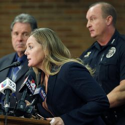 Alpine School District spokesperson Kimberly Bird speaks at a press conference in Orem on Tuesday, Nov. 15, 2016, after five students were stabbed in an apparent attack by a 16-year-old boy at Mountain View High School.