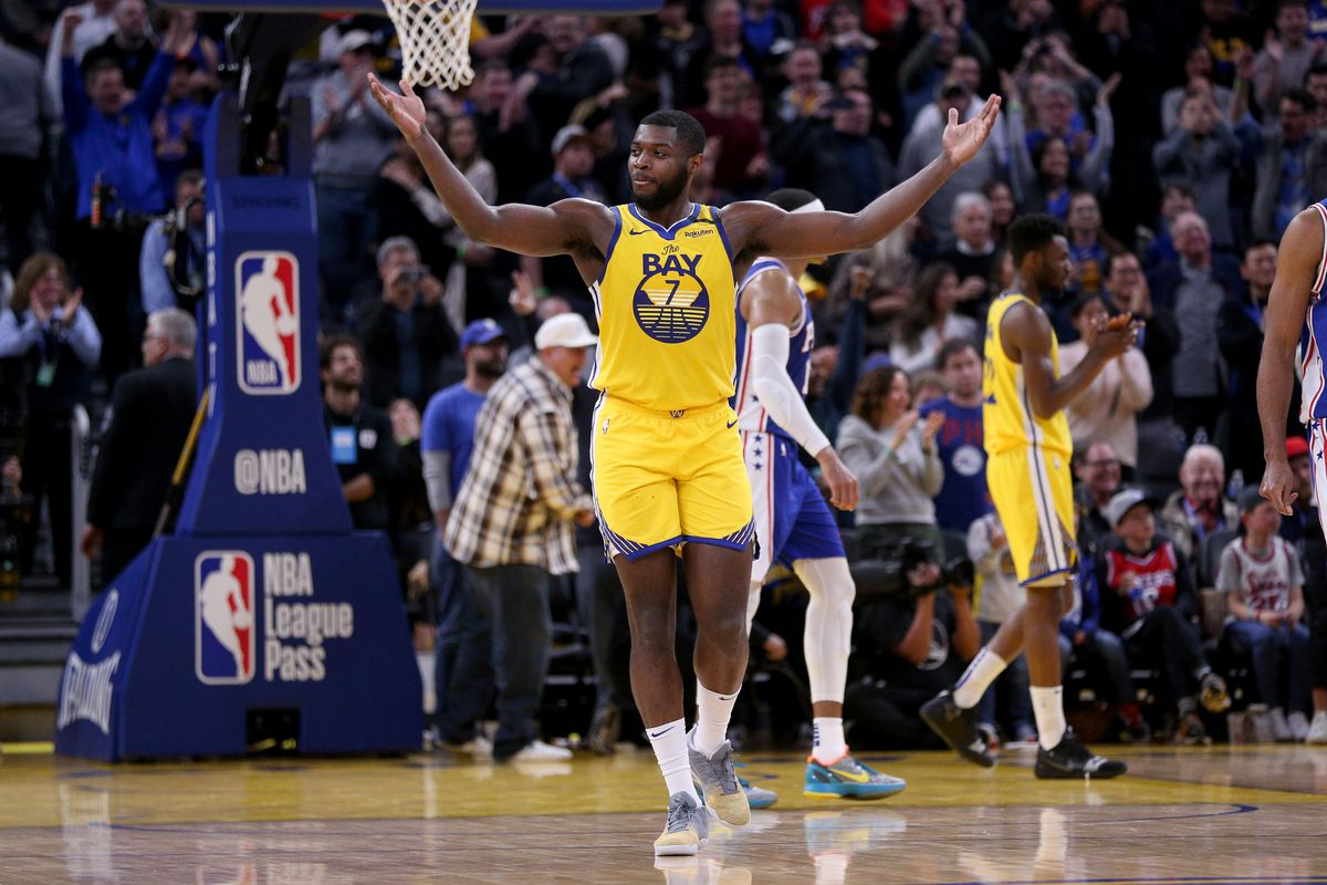 Golden State Warriors forward Eric Paschall reacts after the Philadelphia 76ers committed a turnover late in the fourth quarter at the Chase Center.