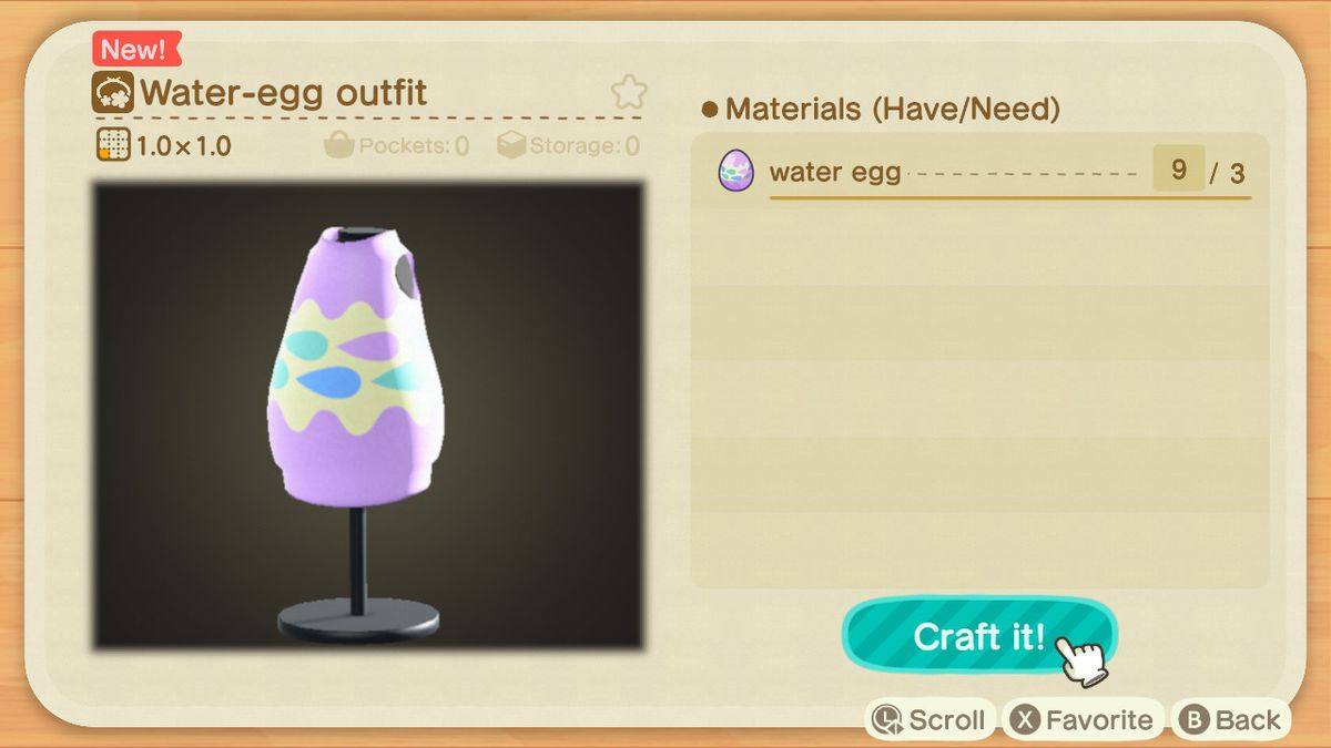 A crafting screen in Animal Crossing showing how to make a Water-Egg Outfit