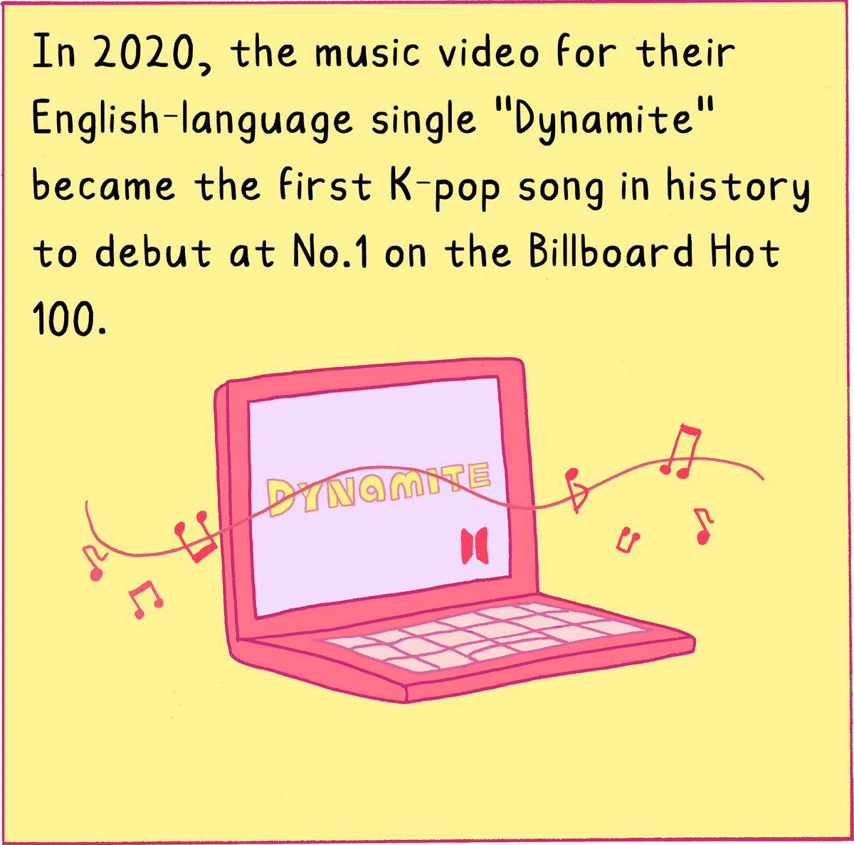 """In 2020, the music video for their English-language single """"Dynamite"""" became the first K-pop song in history to debut at #1 on the Billboard Hot 100."""