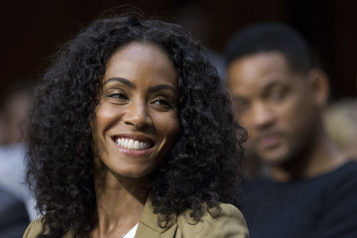 """Jada Pinkett Smith, accompanied by her actor husband Will Smith, testifies before the Senate Foreign Relations Committee during a hearing on """"The Next Ten Years in the Fight Against Human Trafficking: Attacking the Problem with the Right Tools"""" on Capitol"""