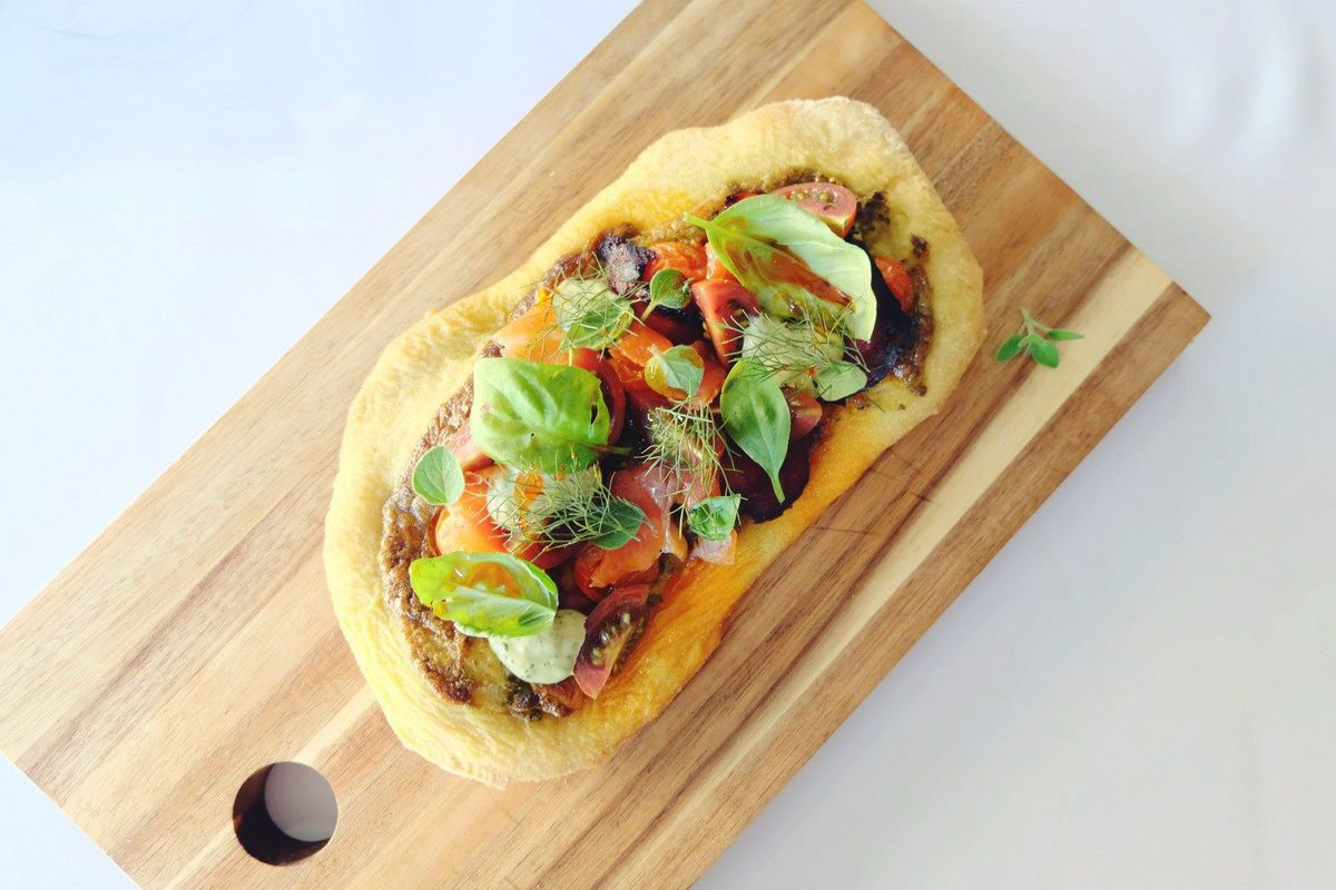 Flatbread with vegetables and chorizo from The Hollow