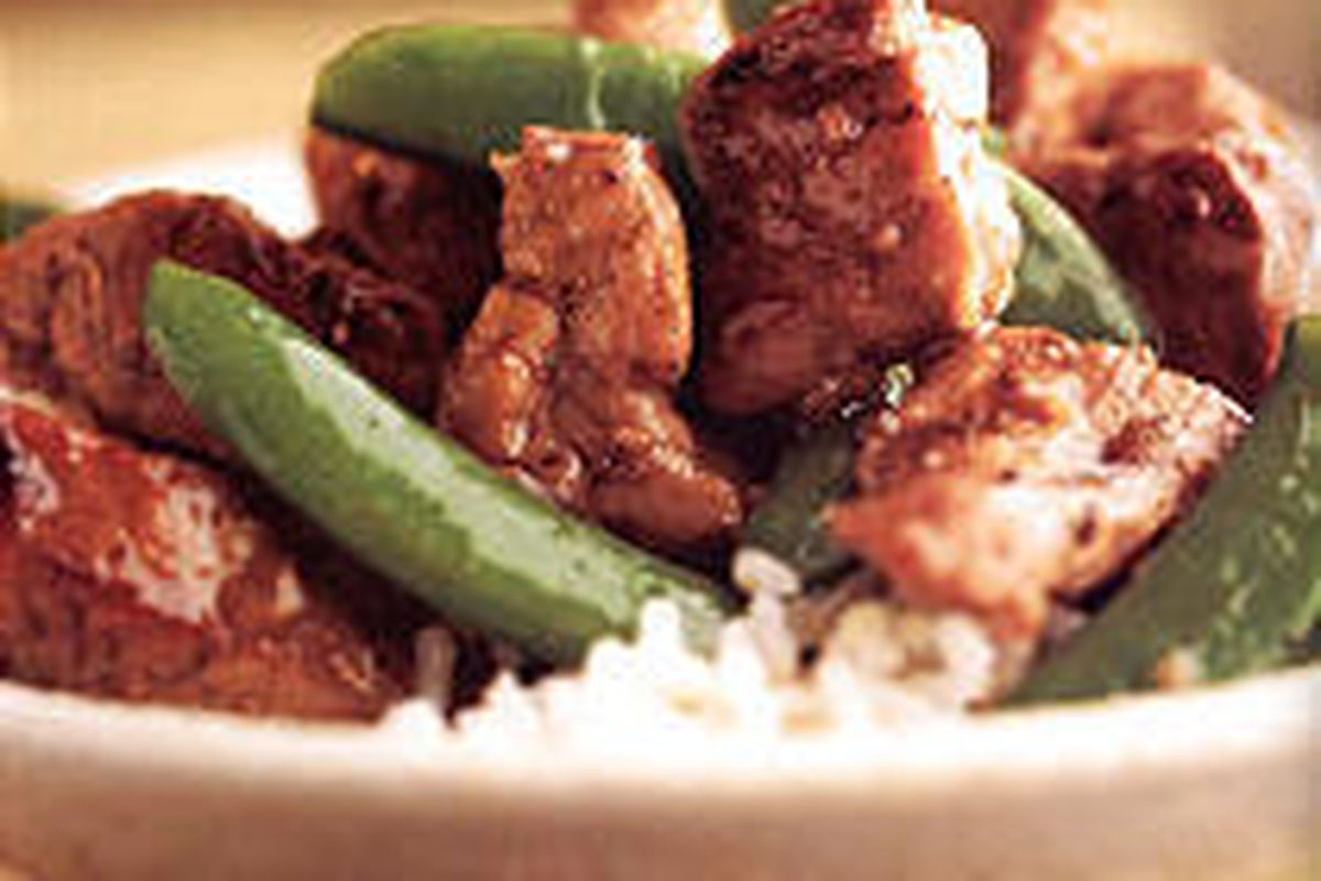Tasty stir-fried pork recipe takes only about 25 minutes to prepare.