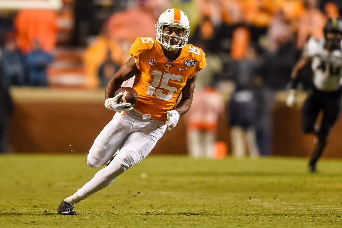 Tennessee Volunteers wide receiver Jauan Jennings runs the ball during a college football game between the Tennessee Volunteers and Vanderbilt Commodores on November 30, 2019, at Neyland Stadium in Knoxville, TN.